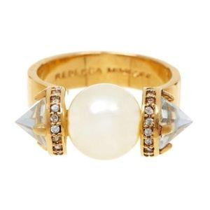 Rebecca Minkoff Faux Pearl Gold Tone Ring